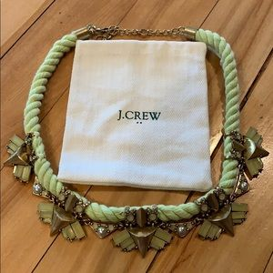 J. Crew light lime rope necklace/gold/stone accent